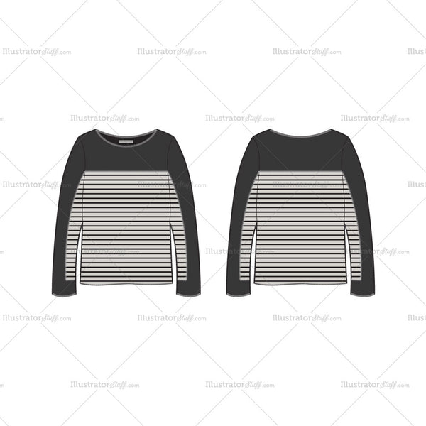 Women's Long Sleeve Tunic Sweater Fashion Flat Template