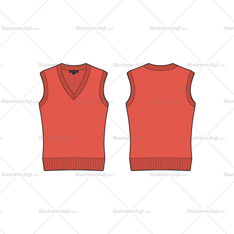 Women's V Neck Sleeveless Sweater Vest Fashion Flat Template