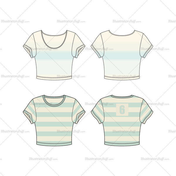 A Set of Round Neck and Scoop Neck Crop Tee Fashion Flat Template