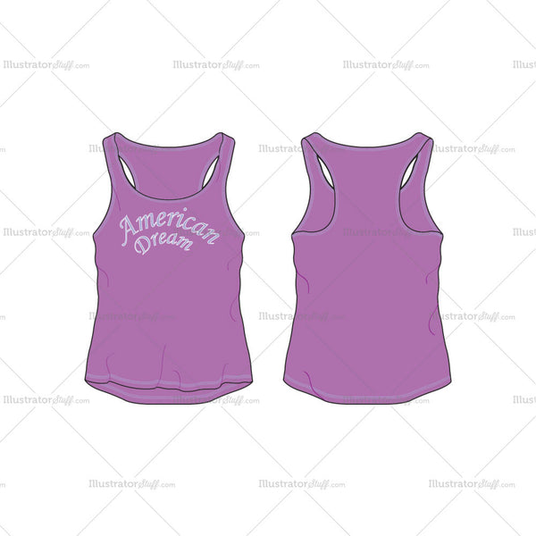 Women's Comfort Fit Racerback Tank Fashion Flat Template