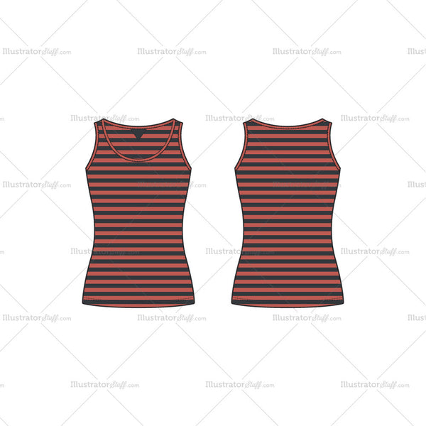 Women's Striped Training Tank Fashion Flat Template