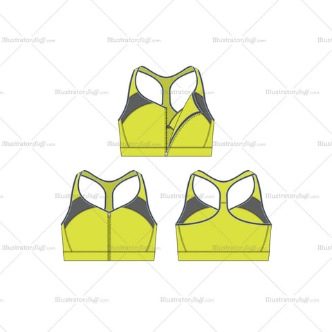 Women's Fitness Training Sports Bra Fashion Flat Template