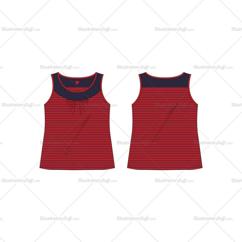 Women's Sport Fashion Tank Top Fashion Flat Template