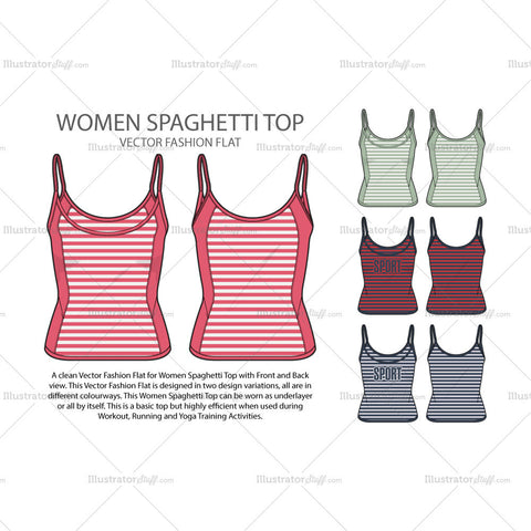 Women Spaghetti Top Vector Sketch
