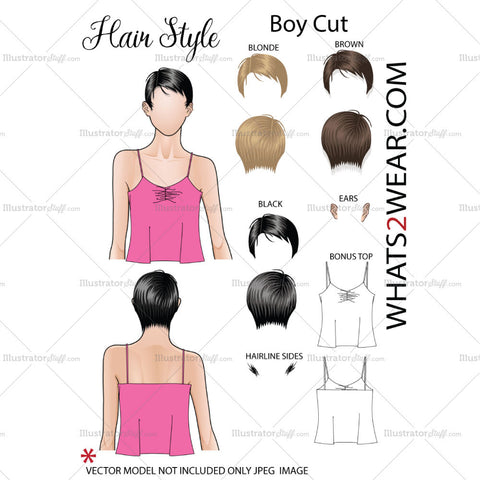 "Fashion Hair Add On ""Boy Cut"""