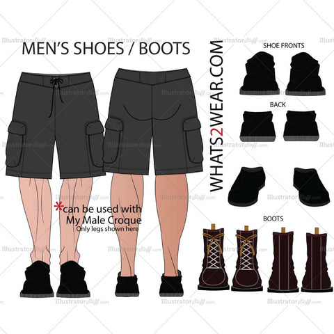 Men's Shoes & Boots Fashion Flat Template