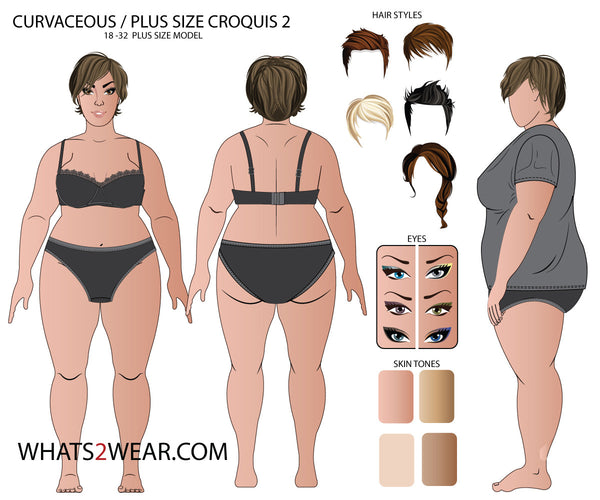 {Illustrator Stuff} Plus Size Female Fashion Croquis Template