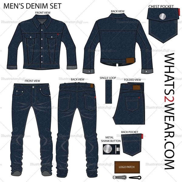 Men's Denim Set Fashion Flat Template