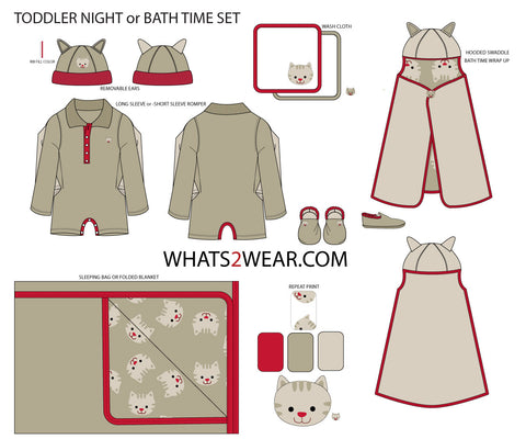 {Illustrator Stuff} Toddler Bath Time / Sleepwear Fashion Flat Templates