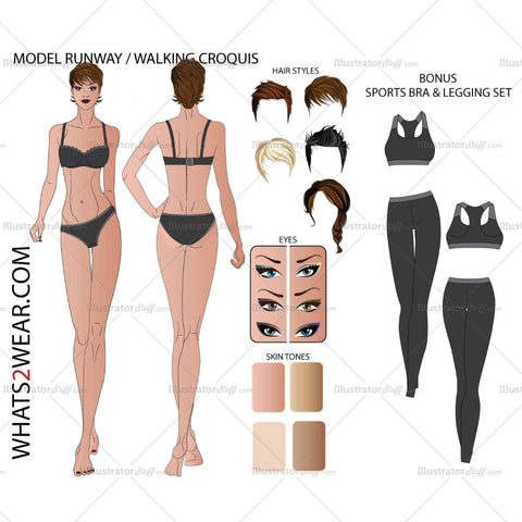 Female Runway Fashion Croquis Template