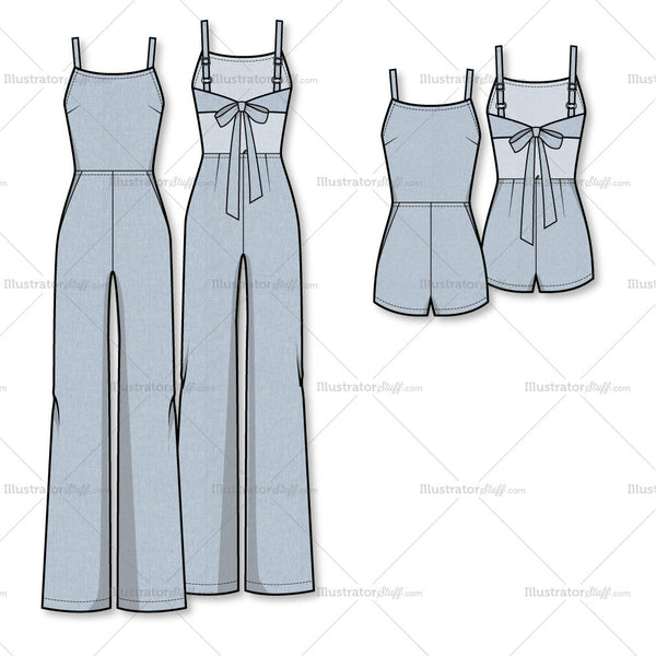 Wide Leg Jumpsuit/romper Flat Template