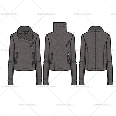 Wide Turtleneck Collar Asymmetrical Moto Jacket With Rib Insets Flat Templa