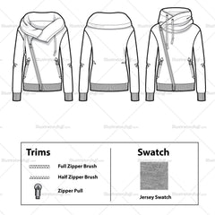 Wide Turtleneck Zip Up Sweatshirt Flat Template