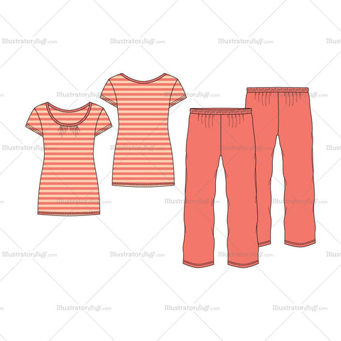 Women's Nightwear Pajama Fashion Flat Template Set