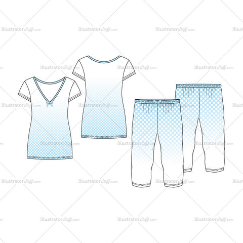 Women's V-Neck Nightwear Pajama Fashion Flat Template Set