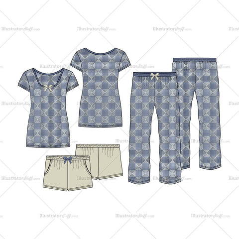 Women's Sleepwear Pajama Fashion Flat Template Set
