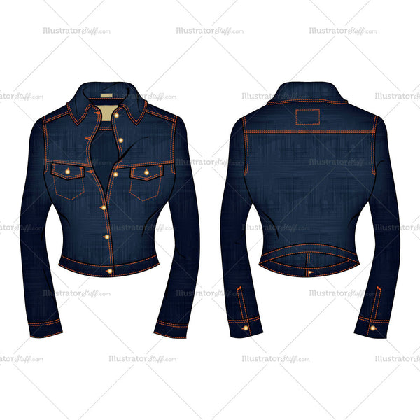 Women's Denim Jean Jacket Fashion Flat Template