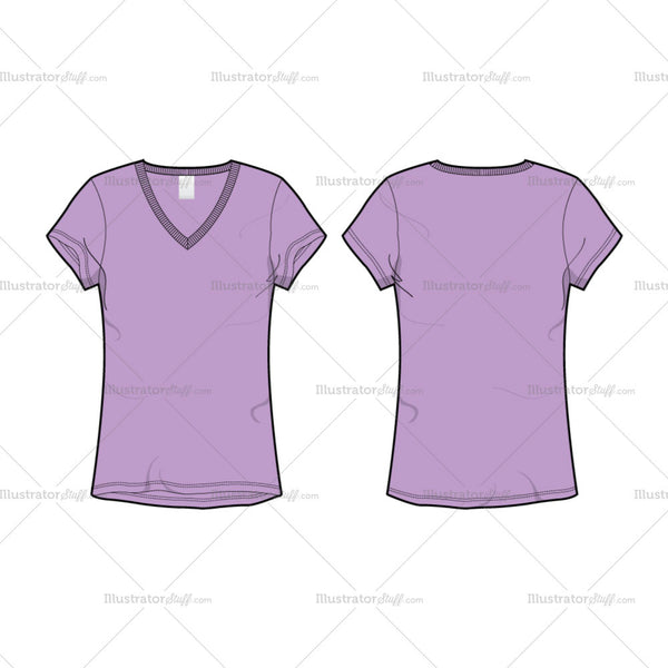 Women's Long V-Neck T-Shirt Fashion Flat Template