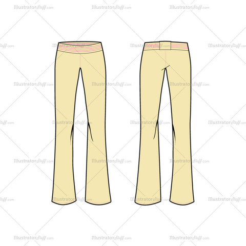 Women's Straight Knitted Trousers Fashion Flat Template
