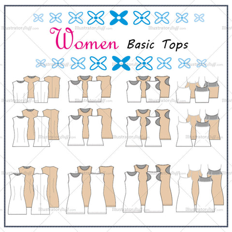Women's Basic Tops Fashion Flat Templates