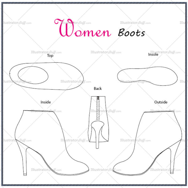 Women's Boots Fashion Flat Template