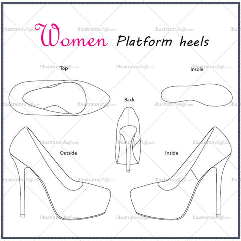 Women's Platform Heels Fashion Flat Template
