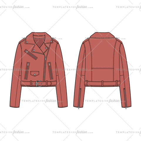 Women Sketch of Leather Faux Leather Moto Jacket