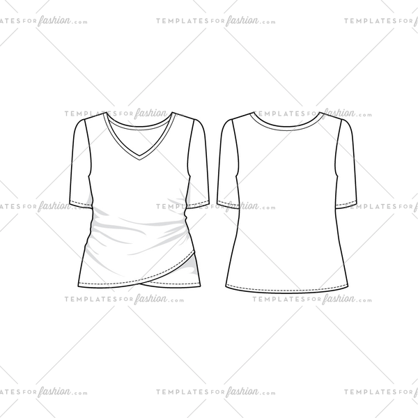 Women Sketch of Short Sleeve V-Neck Ruched Faux Wrap Top