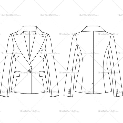 Women's 1 Button Peak Lapel Suit Jacket Fashion Flat Template
