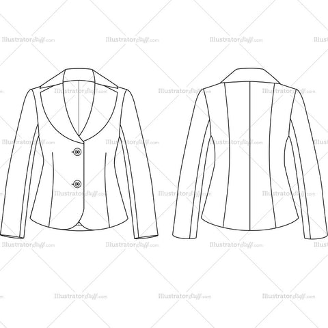 Women's 2 Buttons Fashion Suit Jacket Fashion Flat Template