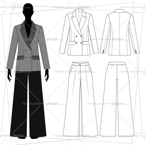 Women's double-breasted blazer. Pants, flared silhouette.