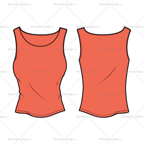Women's Boat Neck Tank Top Fashion Flat Template