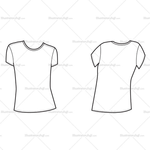 Women's Short Sleeve Ss Crew Neck Tee Shirt Template