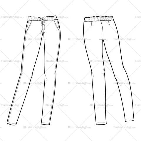 Women's Drawstring Trouser Flat Template