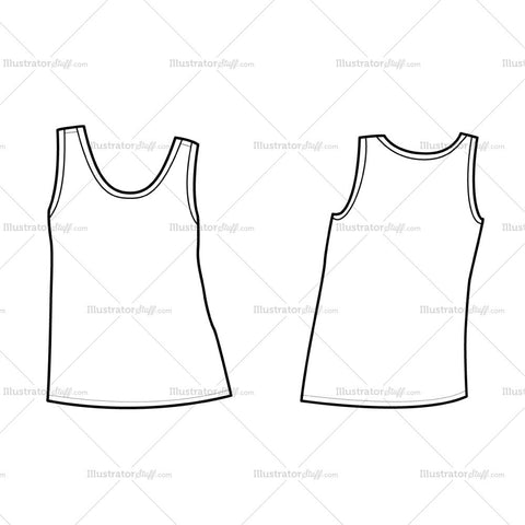Women's Muscle Tank Fashion Flat Template