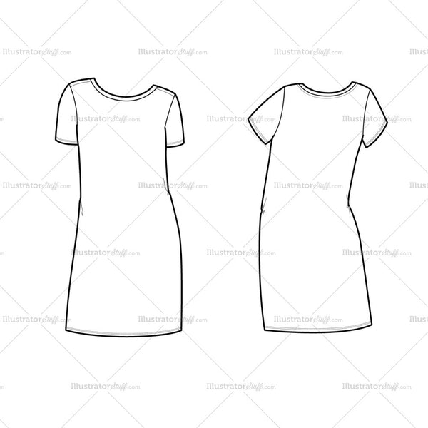 Women's Short Sleeve Tee Shirt Dress Fashion Flat Template