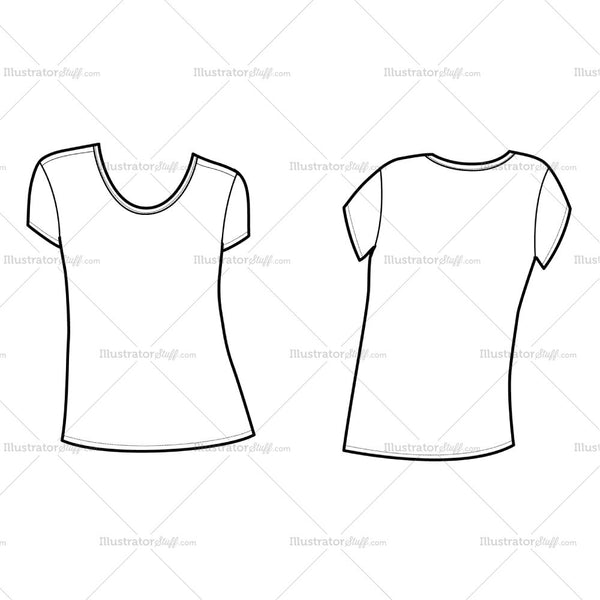 Women's U Neck Ss Tee Flat Template