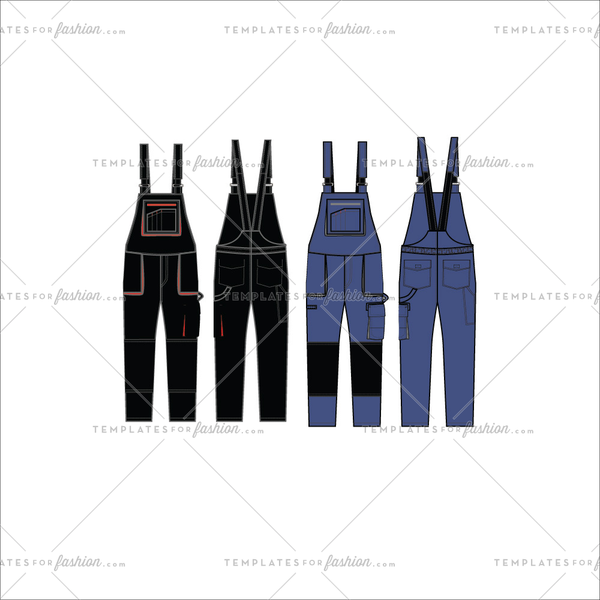 Unisex Work Dungaree Fashion Flat Templates