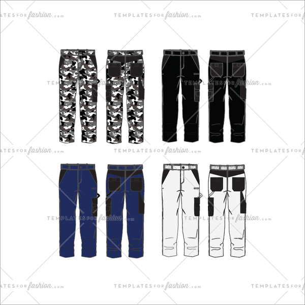 Men's Work Pants Fashion Flat Templates