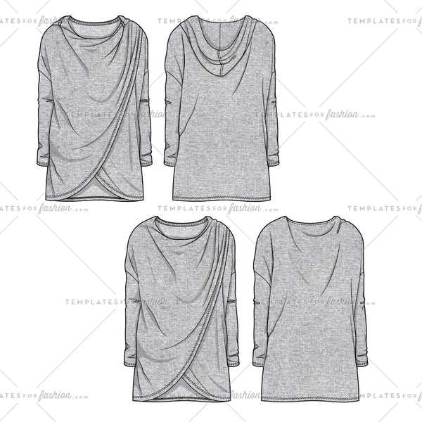 Women's SKetch of a Faux Wrap Sweatshirt With and Without Hood