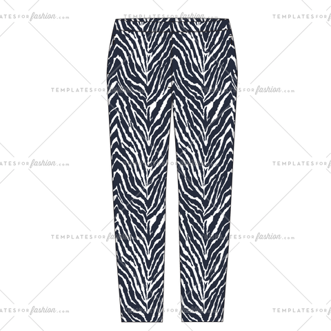 ZEBRA PRINT SKINNY PANT FASHION FLAT VECTOR FILE