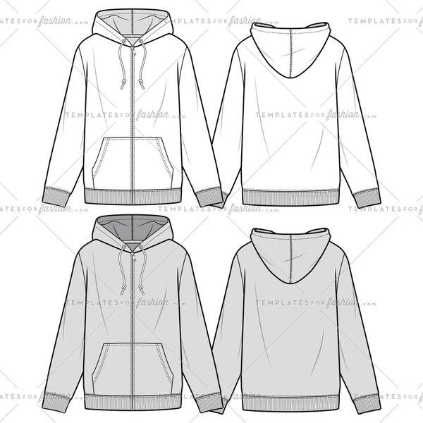 ZIP-UP HOODIE fashion flat sketch template