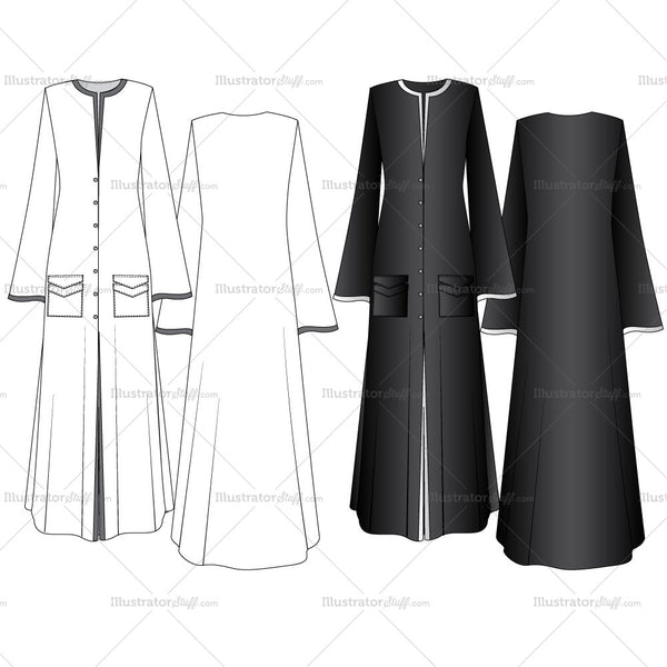 Abaya Fashion Flat Templates