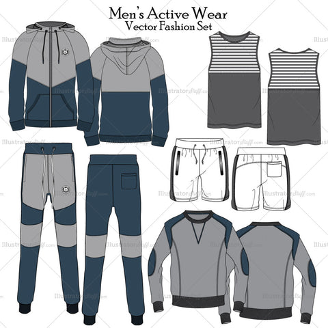 Men's Set Of Active Wear Fashion Flat Template Collection