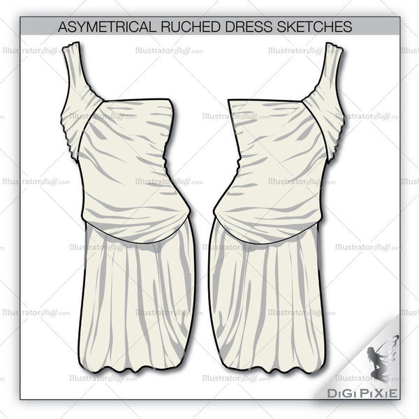 Asymmetrical Ruched Dress Sketch Template