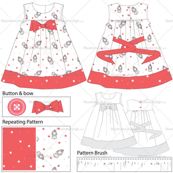 Baby Girls Dress Fashion Flat Templates