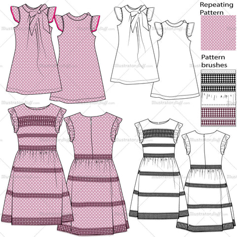 Girls Dress Fashion Flat Templates