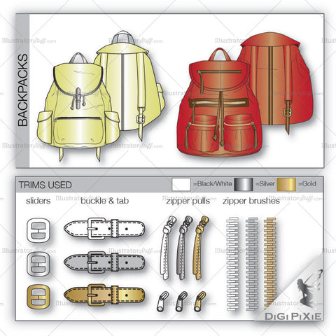 Backpack Fashion Flat Templates