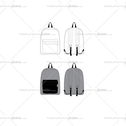 Back Pack Fashion Flat Template