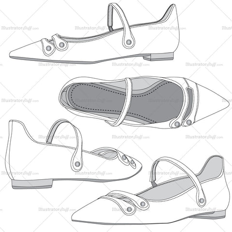 Ballet Flat Fashion Flat Template